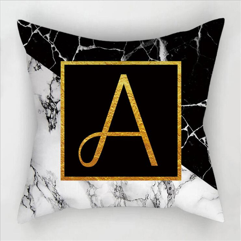New Creative Marbled Gold English Letters Hug Pillowcase Children's Room Decorative Pillowcase
