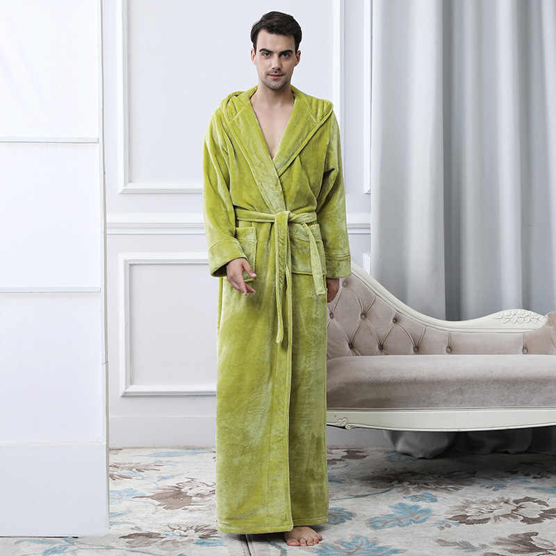 661881bf82 winter fall warm Women s Flannel Robes Bathroom Robe cosplay Solid Men  Bathrobe Pajama Thick Long Spa