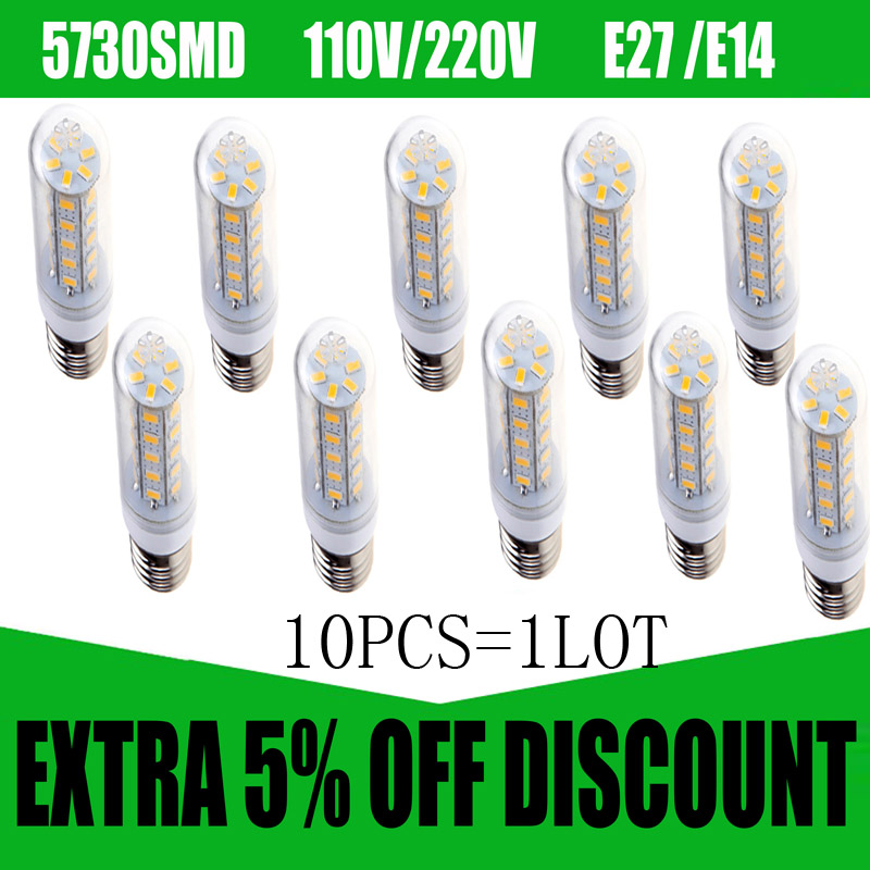 10pcs 5730SMD 110/220V E27 E14 Lampada Led Lamp LED Corn Lamp Bulb Candle Lighting Spotlight Lantern Ampoule Bombillas LED Light 60w style loft industrial vintage wall lamp fixtures home lighting edison wall sconce arandela lamparas de pared