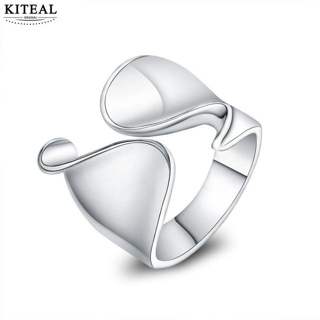 Kiteal atacado prata dedos Polegar abertura do anel redimensionável jóias unisex Top Quality único selo 925