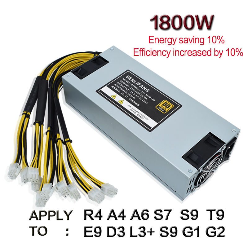 Original Bitmain 1800w Power Supply 6PIN 10 Antminer APW3 12 1600 ETH PSU Antminer S9 S7