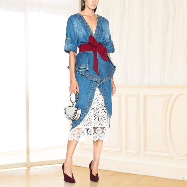 cbb4eed6c2 White Lace Denim Dress Elegant V Neck Celebrity Korean Midi Dress Sexy  Tunic Bow Vestidos Women Clothes 2018 Summer New Designer