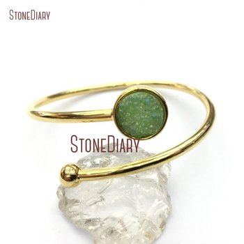 Titanium Grass Green Druzy Crystal Pure Gold Color Circle Bangle Copper Bangle Adjustable BM12720