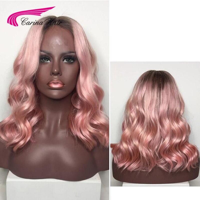 Карина бразильский Реми натуральные волосы Ombre Цвет волос Синтетические волосы на кружеве волос парики 130% плотность розовый бесклеевой пар