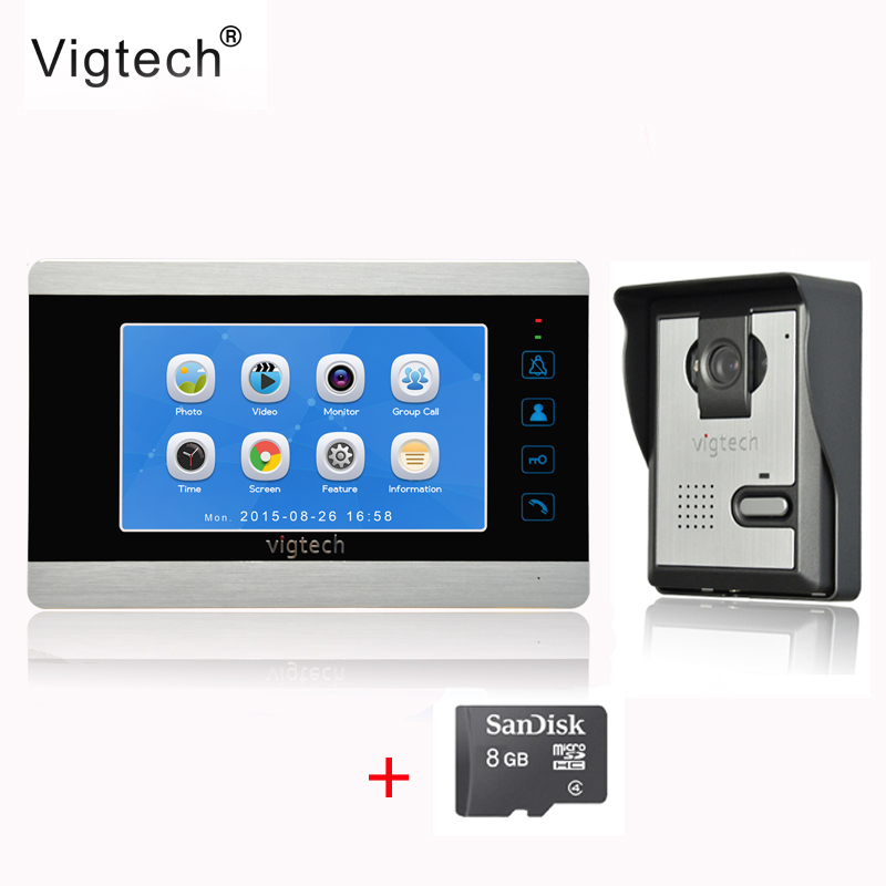 Vigtech7 inch LCD Video Doorbell Door phone Record Intercom System Infrared Night Vision Camera 8GB TF Card FREE SHIPPING