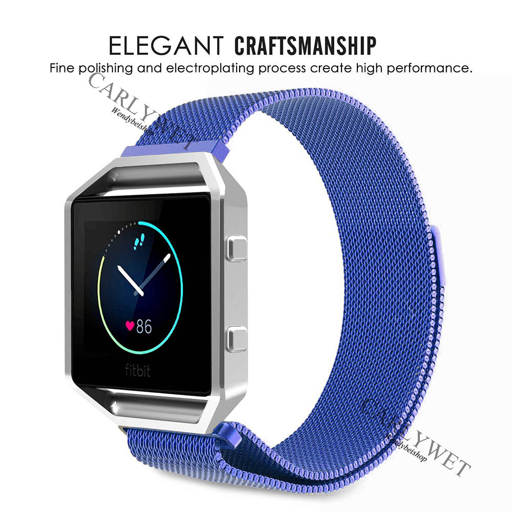 CARLYWET 16 18 20 22 23mm Silver Black Gold Rose Gold Blue Mesh Milanese Loop Steel Wrist Watch Strap With Magnetic Closure in Watchbands from Watches