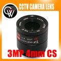 2 pcs 3MP Lente de 4mm CS Monte CCTV HD lente Da Câmera para o Dia/noite CCD DA câmera De Segurança CCTV IP câmera