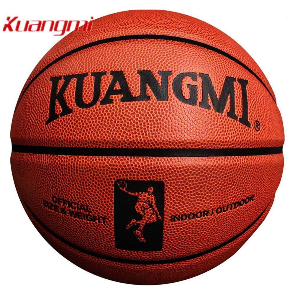 Kuangmi officiel taille 7 jeu de basket Ball entrainement balle homme extérieur gratuit avec filet sac + aiguille