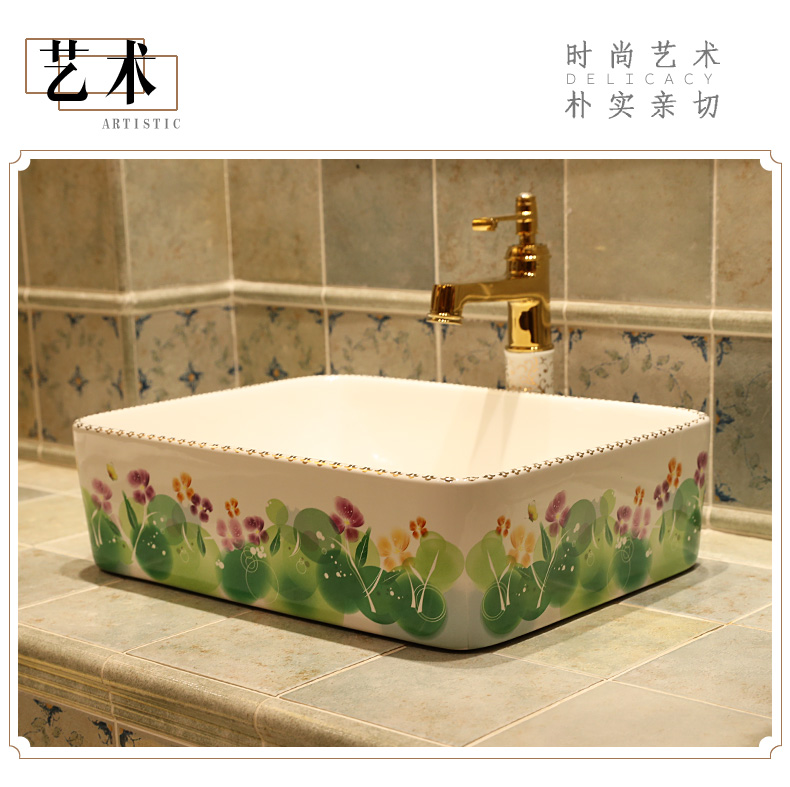 Rectangular Jingdezhen ceramic sanitary ware art counter basin wash basin lavabo sink Bathroom sinks chinese ceramic art sinks (7)