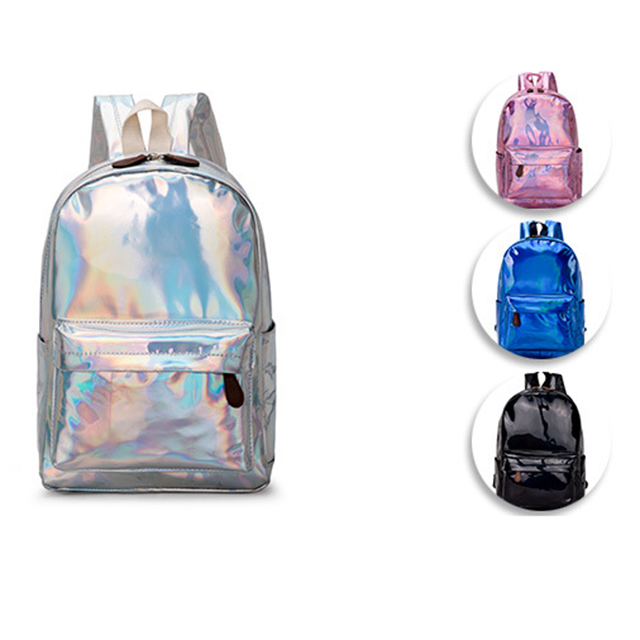 Honey New Small Hologram Backpacks Girl School Bag Shoulder Women Rainbow Colorful Metallic Silver Laser Holographic Bags Luggage & Bags