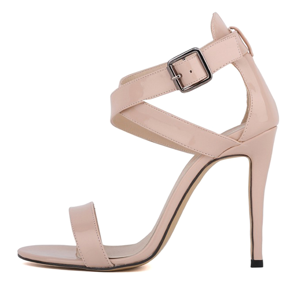 Hot Fashion LOSLANDIFEN women fine High-heeled dew toe Sexy high heels sandals Beige 35 absolute dew beige