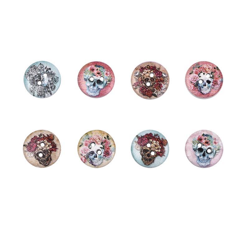 50 шт., новые круглые деревянные пуговицы с цветочным принтом, 2 отверстия, 15 мм, разные цвета, для шитья, деревянные пуговицы, аксессуары для украшения одежды, сделай сам - Цвет: A-13