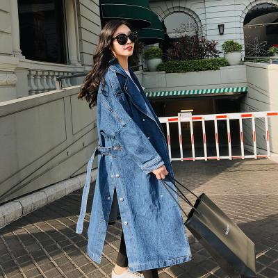 Women Loose Denim Trench Coat Long Windbreaker Vintage Long Sleeve Outwear Female Overcoat Winter Autumn Trench Coats