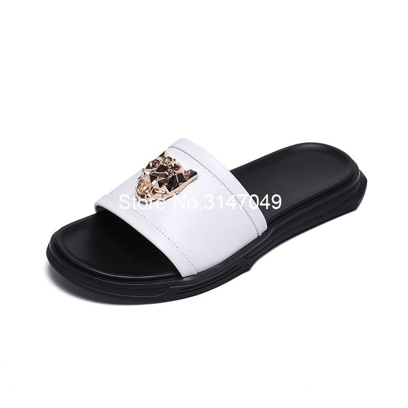 Genuine Leather Slippers Men White Non-Slip Summer Shoes Fashion Metal Decoration Zapatos De Hombre Big Size Thick Heel Slides