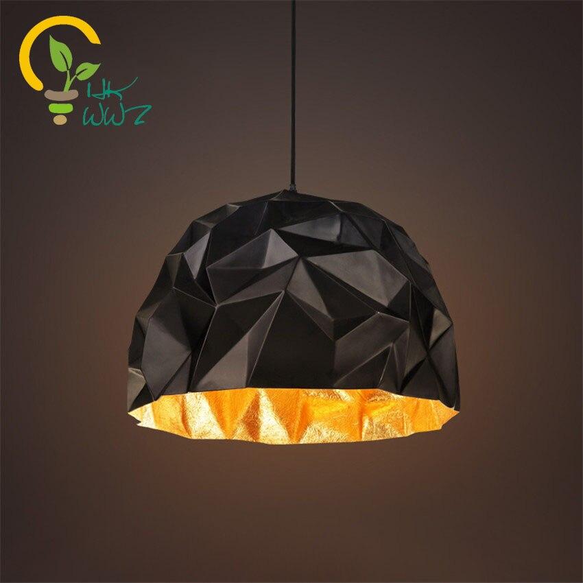 Ceiling Lights & Fans Iron Pendant Lamps American Retro Simple Hanging Lights Bedroom Geometric Shape Square Triangle Droplight Loft Pendant Lights