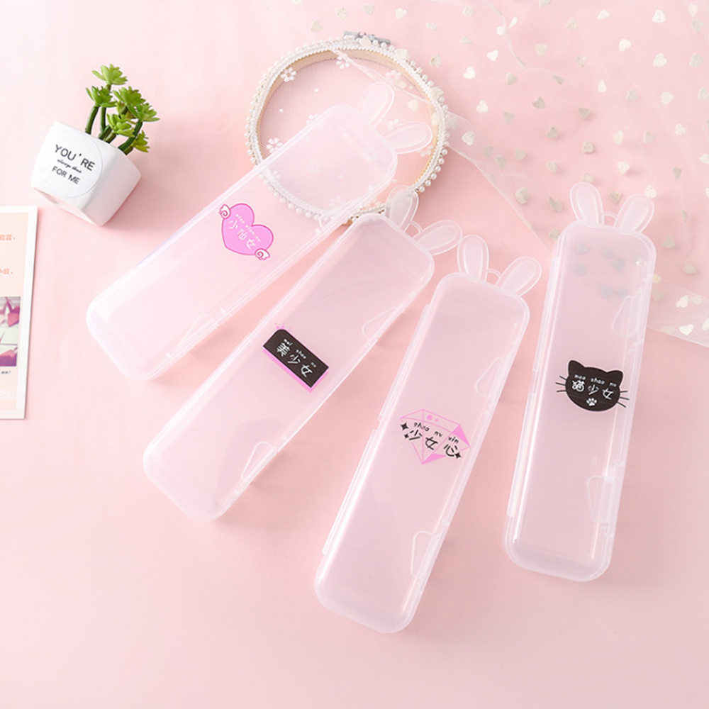 Simple Transparent Pencil Case Rabbit Ear Multifunctional Pencil Box Plastic Storage Box Learning Stationery Office Supplies