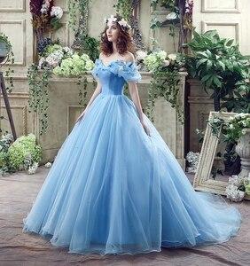 Image 5 - 100% תמונות אמיתיות במלאי כחול פרפר Cospaly סינדרלה שמלת כדור כותנות טול Quinceanera שמלות פרעו Dress15 שנים