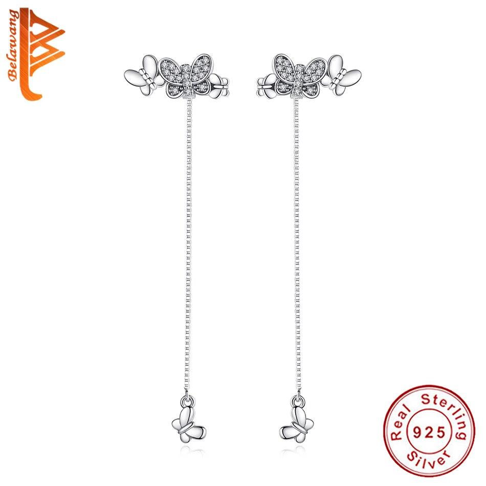 BELAWANG luksusowe oryginalny 925 Sterling srebrne kolczyki z cyrkoniami kryształ motyl spadek kolczyki dla kobiet biżuteria ślubna w Kolczyki od Biżuteria i akcesoria na  Grupa 1