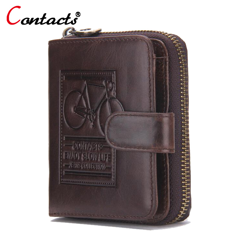 CONTACT'S Genuine Leather Men Wallets Small Coin Purse Mini Wallet Card Holder Male Clutch Bag Vintage Wallets Men Handy Purse men wallets 2017 vintage 100% genuine leather wallet cowhide clutch bag men s card holder purse with coin pocket