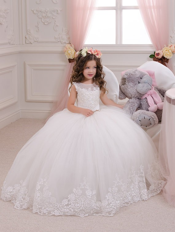 Sleeveless Flower Girls Dresses for Wedding Ball Gown Spring Pretty Flower Girls Dresses White Mother Daughter Dresses For Girl