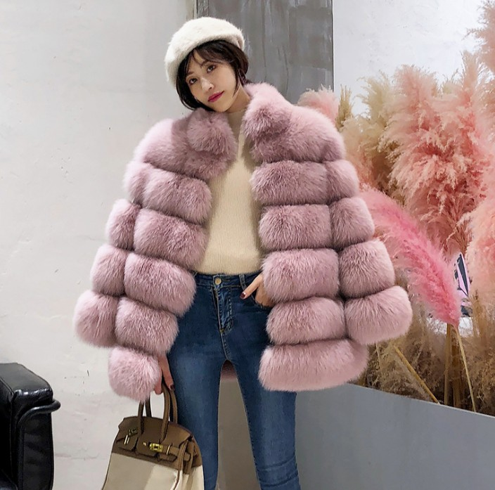 Winter coat Warm Real Luxury Faux Fur Coat Women With Real Fox Fur cropped Maternity wear hoodie thick for girl Pregnant womanWinter coat Warm Real Luxury Faux Fur Coat Women With Real Fox Fur cropped Maternity wear hoodie thick for girl Pregnant woman