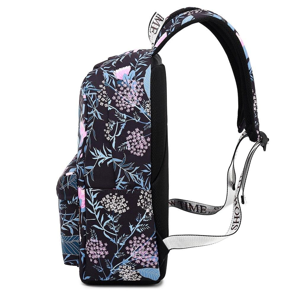 d38d53adc0 Waterproof Black Flower School Backpack with 15.6