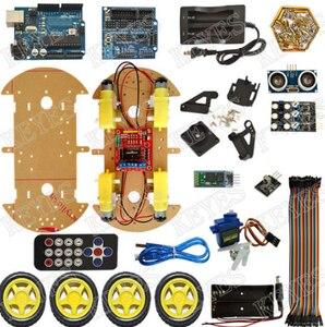 Image 5 - הימנעות מעקב מנוע חכם רובוט רכב שלדת קיט מהירות מקודד סוללה 2WD 4WD קולי מודול עבור Arduino