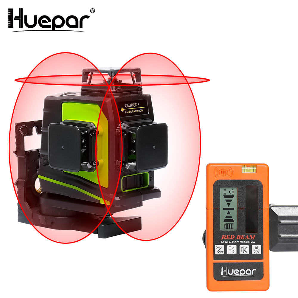 Huepar 12 Lines 3D Red Beam Cross Line Laser Level Self Leveling 360 Degree Vertical Horizontal