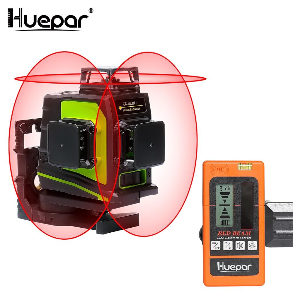 Huepar 12 Lines 3D Red Beam Cross Line Laser Level Self-Leveling 360 Degree Vertical & Horizontal with LCD Receiver USB Charging leter 3d red laser level self leveling 12 lines 360 degree horizontal