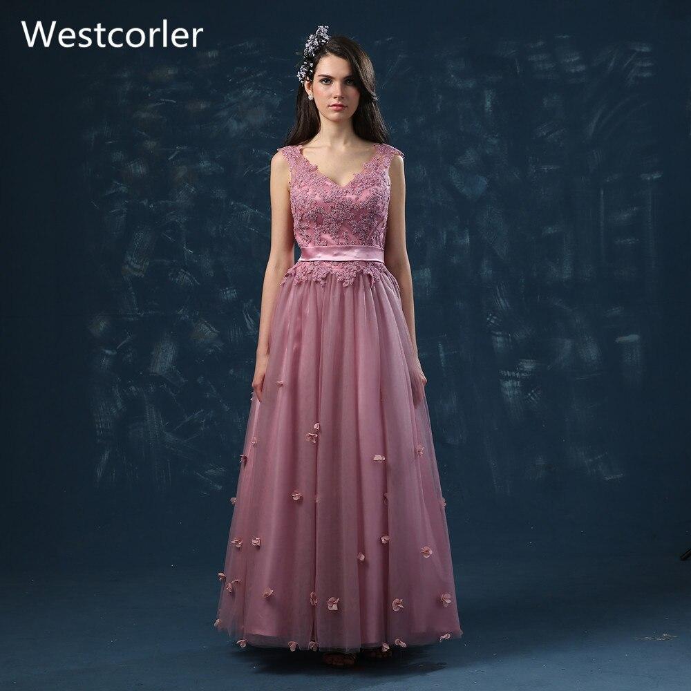 Bridesmaid Dresses Long V Neck Tulle Appliques Pink Navy Blue Dama ...
