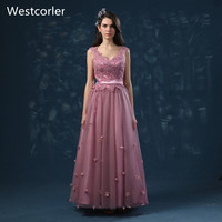 Westcorler Long Bridesmaid Dress For Wedding V Neck Lace up On The Back Floor Length Wedding Party Gowns Prom Dressses