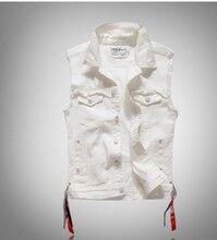 Biała kamizelka dżinsowa mężczyźni w trudnej sytuacji jednokolorowe kieszenie kowbojskie wstążki męskie moda Vinatge płaszcze casualowe