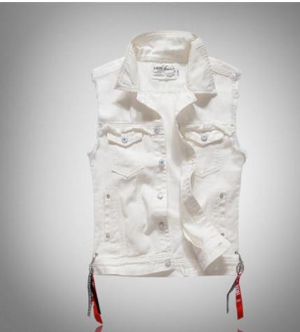 White Denim Vest Men Distressed Solid Color Pockets Cowboy Ribbons Male  Fashion Vinatge Casual Coats