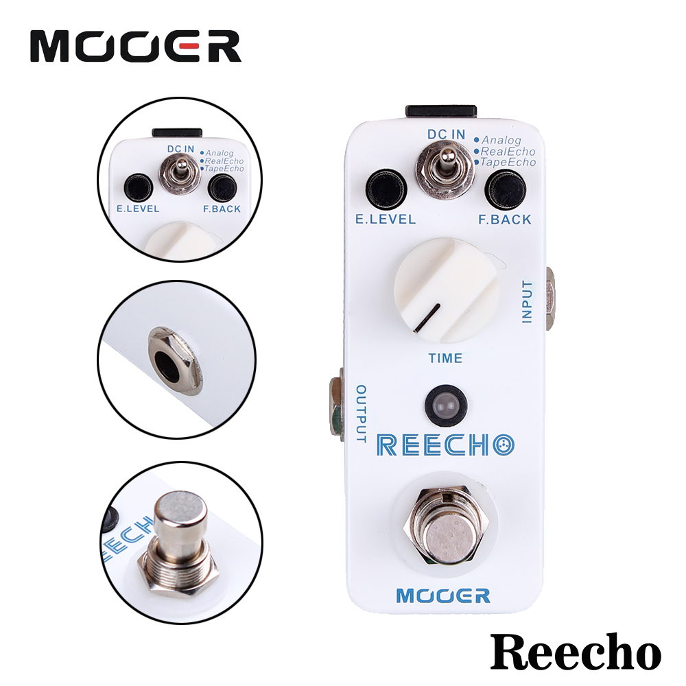 Mooer Full Metal Shell Reecho Electric Guitarra Digital Delay Effect Pedal With Analog/Real Echo/Tape Echo 3 Working Modes mooer ana echo analog delay pedal