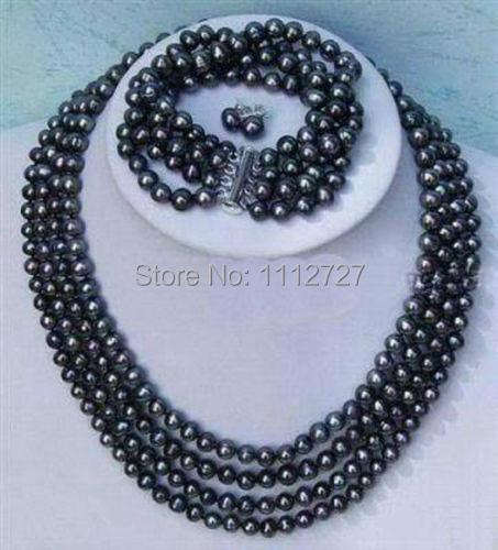 Ensemble de bijoux chaud nouvelle mode plus noble 4 rangées 6-7mm noir perle collier bracelet boucle d'oreille perles pierre naturelle BV172 prix de gros