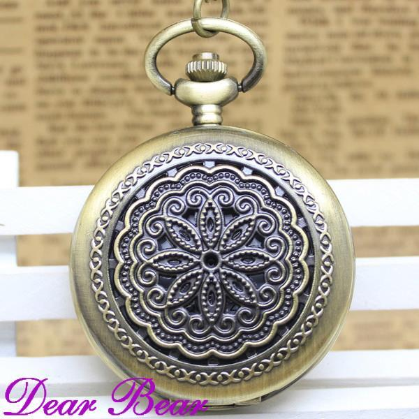 (1035) Vintage Bronze Victorian Style Filigree Pocket Watch Necklace, Dia 4.7.cm