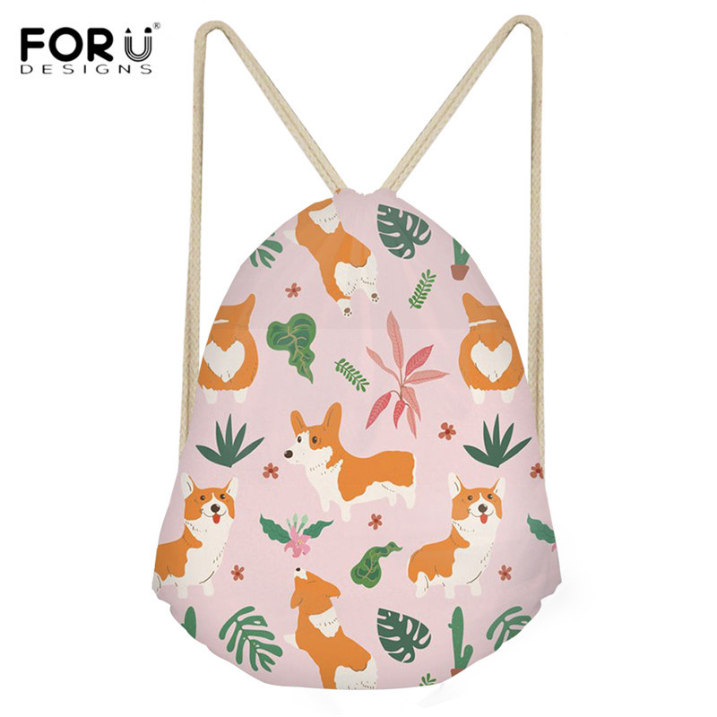 FORUDESIGNS Fashion Portable Drawstring Bag Tropical Corgi/Pug/Beagle Print Women Shoes Bag Leisure Girls Travel Storage Bagpack