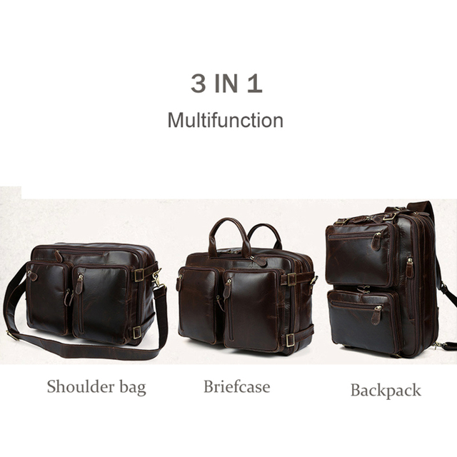 2019 New Natural Cowskin 100% Genuine Leather Men's multifunctional Briefcase Large Capacity Business Shoulder bag 17 Laptop Bag 2