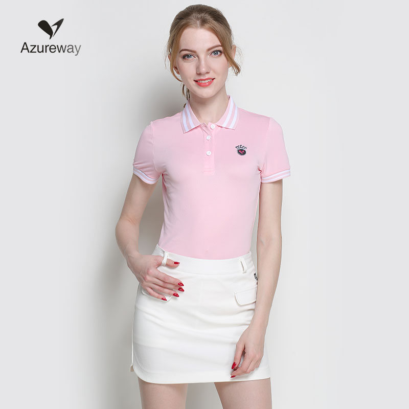 2018 NEW arival women golf shirts short sleeve summer sports fabric lady top T shirt 3 colors striped design white navy Pink plus flounce sleeve striped top