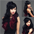 1PC 80cm/32inch Fashion Sexy Wavy Wig Heat Resistant Curl Long Full Lolita Cosplay Party Hair Wigs Red+Black Wholesales