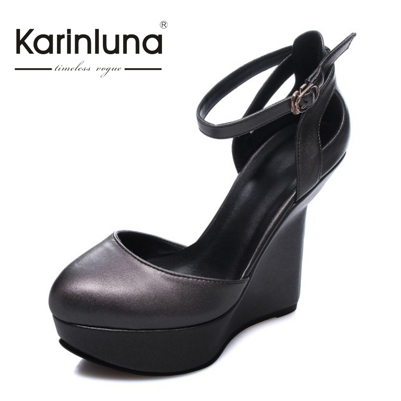 ФОТО KARINLUNA New Brand Design Real Leather Nature Cow Leather Platform Pumps Sexy Strange Super High Heels Party Shoes Women
