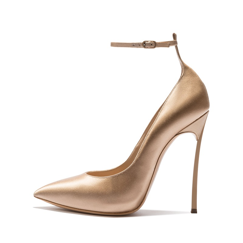 New 2018 Women Blade Heels Ankle Strap Pumps Sexy Pointed Toe Two-Piece High Heel Dress Shoes 12CM Lady Office Dress Shoes women classical design silver pointed toe transparent pumps ankle buckle design 12cm high heels formal dress shoes