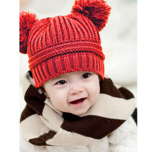 Cute Baby winter cap Kids Girl Boy Dual Balls Warm Winter Knitted Cap Beanie Hat