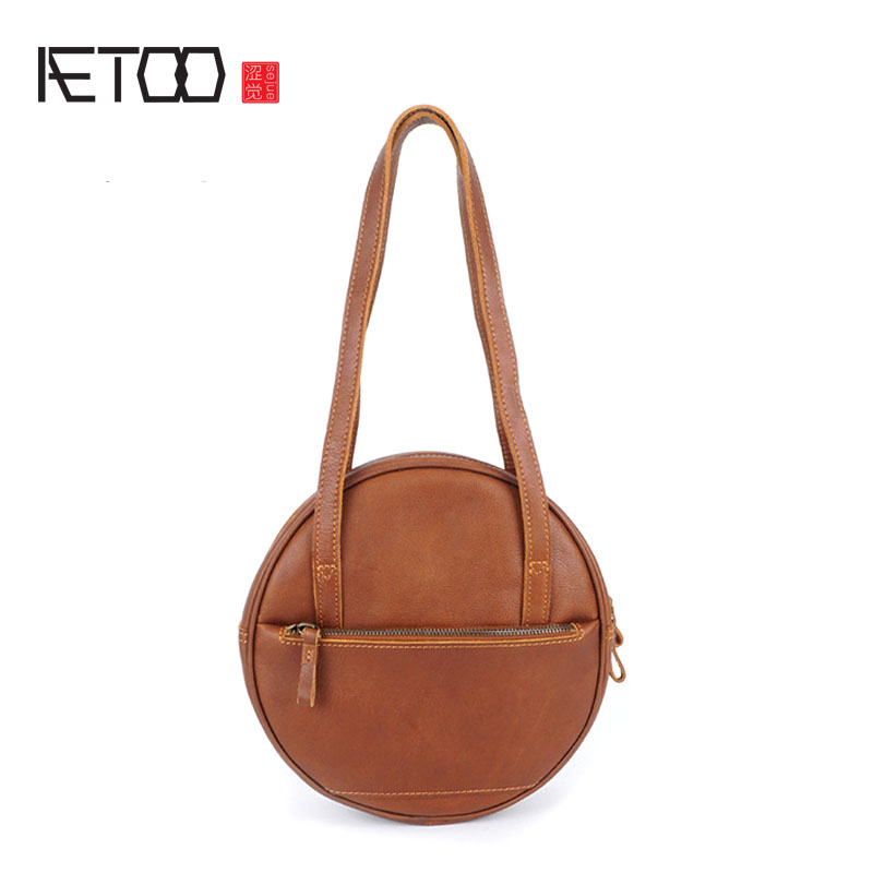AETOO new leather handbags shoulder bag the first layer of leather oil leather Europe and the United States retro bags roun europe and the united states simple geometric pattern hand bag head layer of leather in the long wallet multi card large capacit