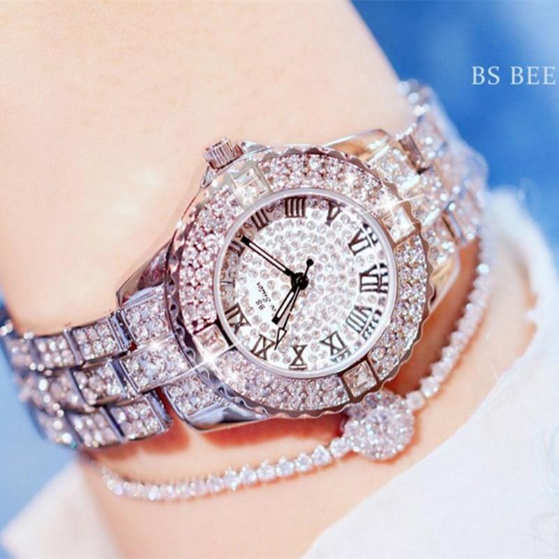 2018 Forró Eladó Női Órák Luxus Lady Watch Női Strassz Karóra Divat Kristály Órák Ajándékóra Női Relogios