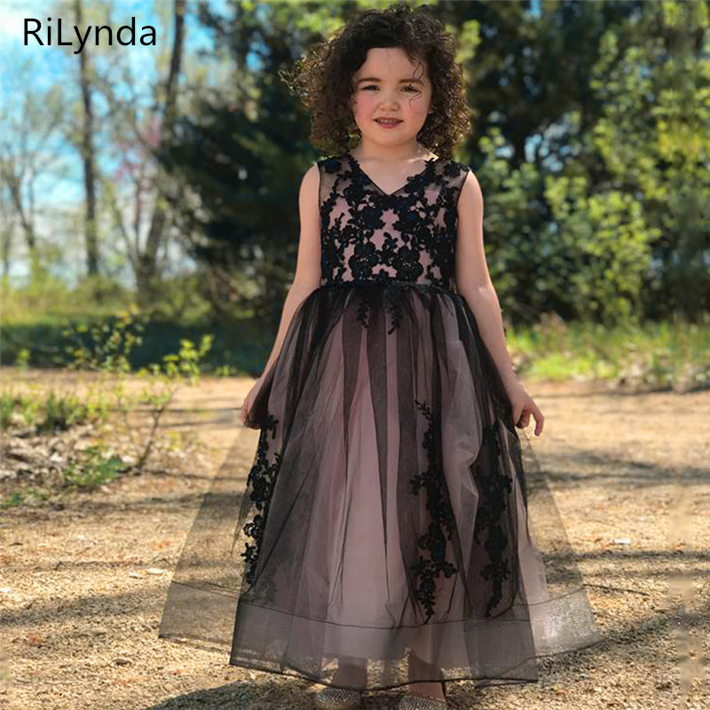 New Ball Gowns   Flower     Girl     Dresses   Princess Birthday Party Wedding Gowns Hot   Girls   Tulle Sleeveless Double V-neck Lace Appliques