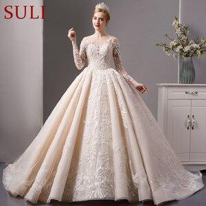 Image 4 - SL 6064 luxury shinny lace ball gown wedding dresses 2019 long sleeves muslim wedding bridal dress