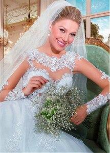 Image 5 - מפתה טול Bateau מחשוף לראות דרך אונליין חתונת שמלות עם חרוזים אפליקציות תחרה ארוך שרוולי שמלות כלה