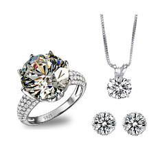 Bridal Ring Earing Necklace Set Romantic AAA CZ Diamond Wedding Jewelry Sets For Women Vintage Silver Plated Parure Bijoux BT008