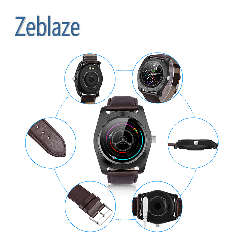 26a86930c98 Relógio inteligente Bluetooth Zeblaze Clássico Para Andriod IOS Câmera  Pedômetro Música Sono Monitor de Fitness Monitor de Freqüência Cardíaca  Esportes